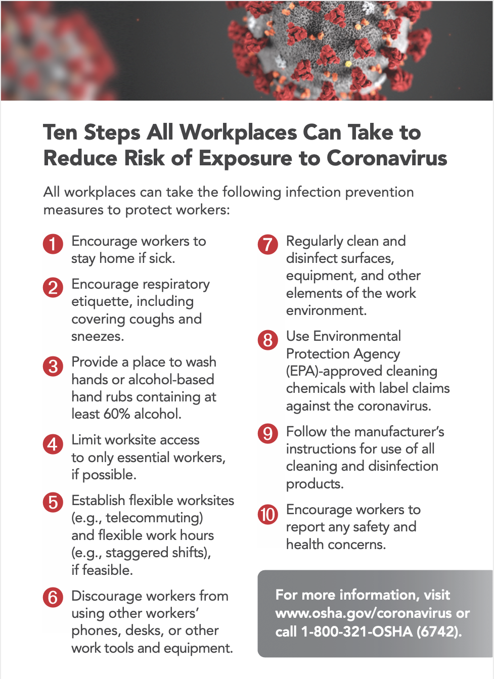 OSHA's ten tips for keeping workers safe during coronavirus